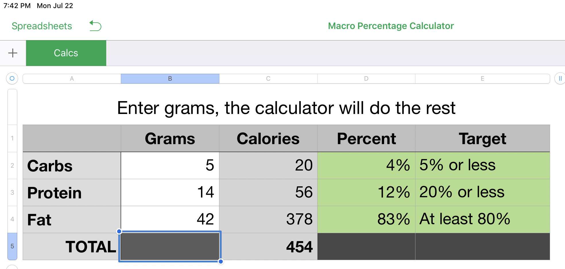 Spreadsheet to calculate macro percentages - Resources