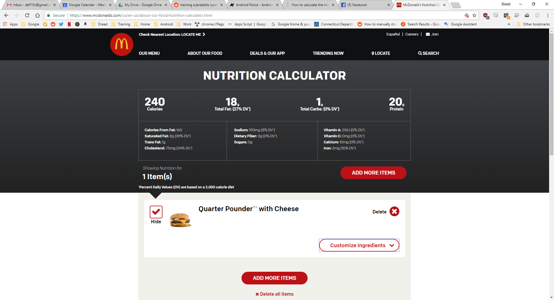 How to calculate the macros for bunless mcdonalds burger? - Food
